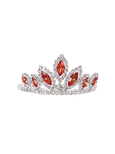 WonderfulDress Dazzling Stoned Crown Tiara SMALL-Red-One Size