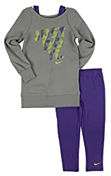 Nike Little Girls\' 2 Piece Fleece & Leggings Set-PH-4
