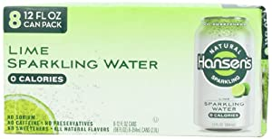 Hansen's Lime Natural Sparkling Water, 12 Ounce Cans (Pack of 24)