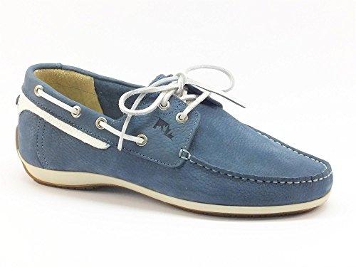 Scarpe Lumberjack per uomo modello barca in pelle blu e bianca (Taglia 44)