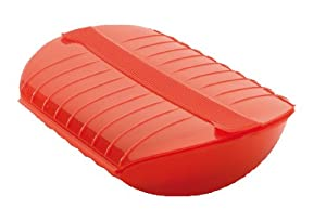Lekue Steam Case with Draining Tray for 3 to 4 Person, Red