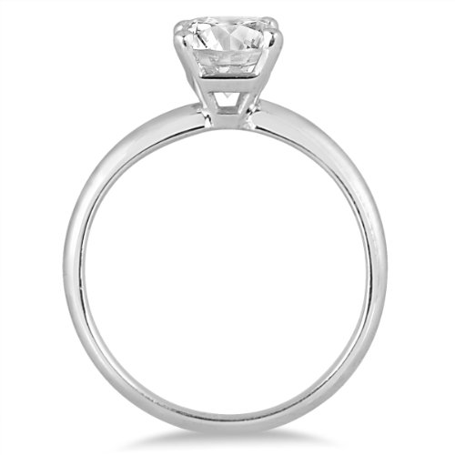 1 Carat Cushion Cut Diamond Solitaire Ring in 14K White