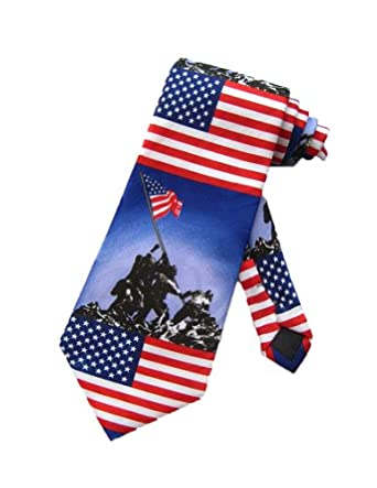 Steven Harris Mens USA WWII Iwo Jima Necktie - Blue - One Size Neck Tie