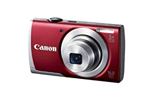 Canon PowerShot A2600 IS 16.0 MP Digital Camera with 5x Optical Zoom and 720p Full HD Video Recording (Red)