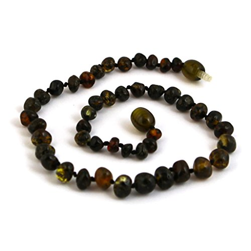 "Hazelaid (TM) 12"" Baltic Amber Dark Green Necklace - 1"
