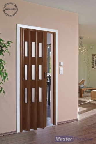 High Quality Marley Concertina Italian Nut Glazed Folding Door Pre assembled 85 cm Max Door Opening