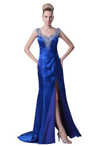 Elegant Women'S Straps Jewel Neck Empire Side Split Long Formal Dresses 4296 26W Blue