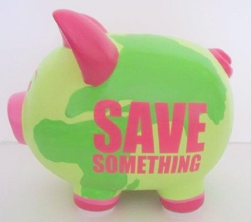 Two's Company Cupcakes & Cartwheels - Save Something Piggy Bank, Saver Pig, Green and Pink