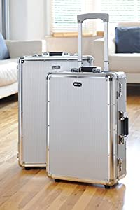 """Mezzi Designer 20"""" & 23"""", Heavy duty 2 Piece Silver Aluminium wheeled Handheld Rolling Luggage Baggage Travel Set, Airline & Flight Cabin size approved Suitcases Holdall Bags."""