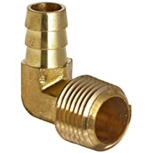 Anderson Metals Brass Hose Fitting, 90 Degree Elbow, Barb x NPT Male