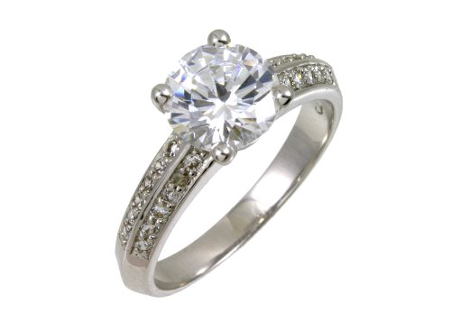 9ct White Gold Cubic Zirconia Single-Stone with Cubic Zirconia Set Shoulders Ladies' Ring Size K