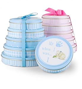 BLUE / BOY - Baby Handprint Tower. Set of 5 Baby Handprint Kits in Blue Decorative Tins.. (Baby Shower Gift Basket - Shower Gift for Expecting Mothers / New Parents - New Borns / Infants.
