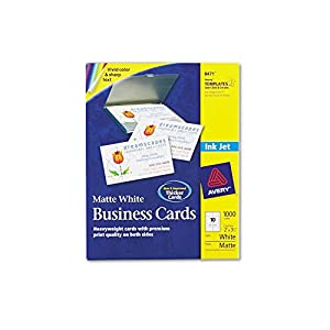Avery 8471 perforated business cards inkjet white for Business cards 1000