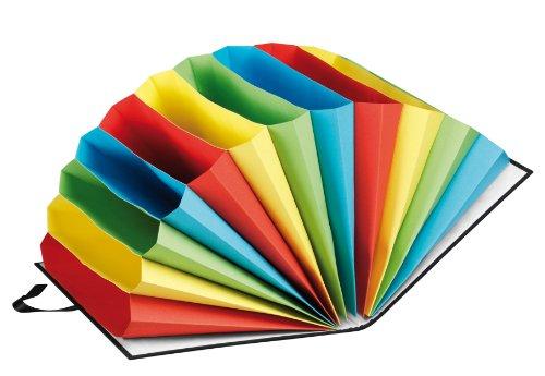 Pagna 24111-04 Vorordner 12 farbige Fächer mit Leinen-Einband, Halbkreisfächer mit Band verschließbar, neutral, schwarz
