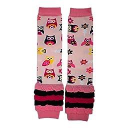 Hugglugs Girls Pink Hootie Owl Legwarmers