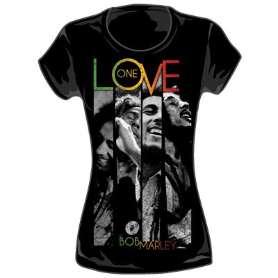 Bob Marley - One Love Stripes Juniors T-Shirt in Black, Size: X-Large, Color: Black