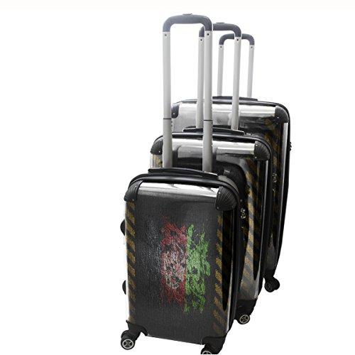 Drapeau Graffiti Afganistan, 3 pièce Set Luggage Bagage Trolley de Voyage Rigide 360 degree 4 Roues Valise avec Echangeable Design Coloré. Grandeur: Adapté à la Cabine S, M, L