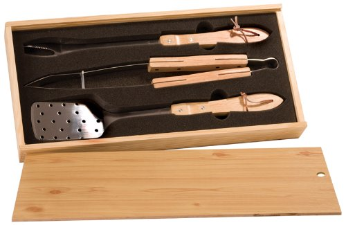 Bbq Gift Set - Spatula, Fork, Tongs And Wood Carry Case