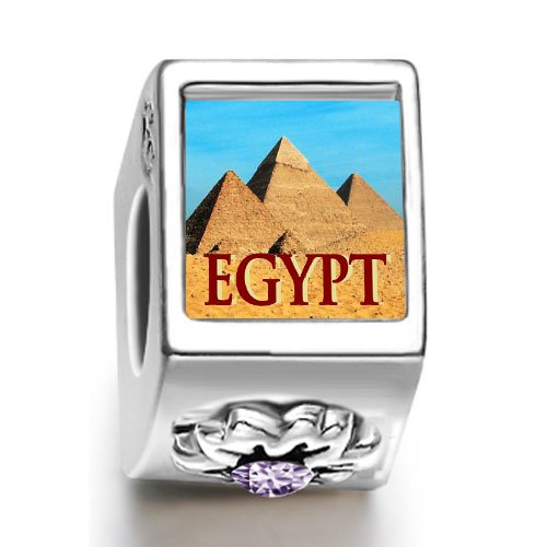 Soufeel Travel Egypt pyramids February birthstone photo flower European charm bead
