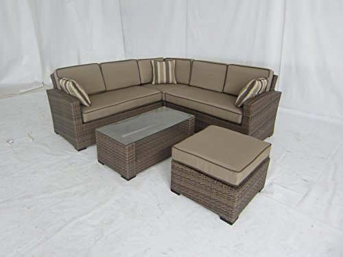 Creative Living Ferrara 5 Piece All Weather Outdoor Wicker Sofa Sectional Set image