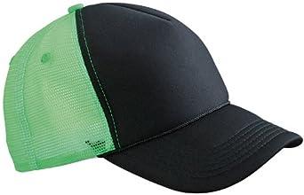 MB RETRO MESH CAP TRUCKER HAT - 10 GREAT COLOURS (BLACK / NEON GREEN)