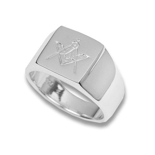 Silver Masonic Signet Ring- Size V