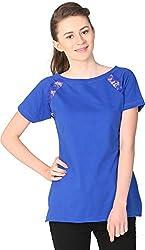 Unimod Women's Cotton Regular Fit Top (U021_Blue_S, Blue, S)