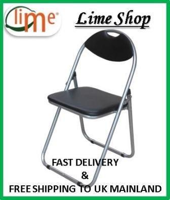 Black Padded Folding Office, Desk Chair. Easily Stores Away.