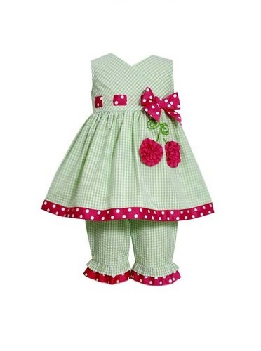 Bonnie Baby Baby-Girls Infant Cherry Applique Legging Set, Lime, 12 Months front-1038648