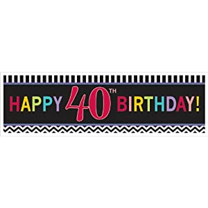 "Must-Have Chevron and Stripes 40th Birthday Party Giant Sign Banner Decoration, Multi , 65""x20"" Paper from TradeMart Inc."