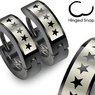 Pair of 316L Stainless Steel Black Hinged Hoop Earring with 5 Star Logo Print; Comes With Free Gift Box