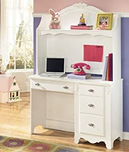 2PC White Youth Bedroom Desk and Hutch Set by Famous Brand Furniture