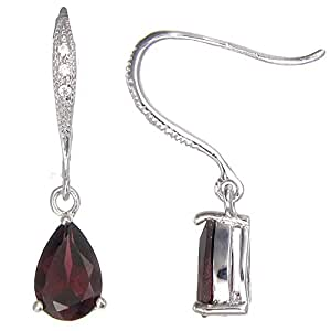 Vir Jewels Sterling Silver Garnet Earrings (1 CT)