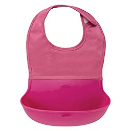 OXO Tot Silicone Roll Up Bib with Comfort-Fit Fabric Neck, Pink