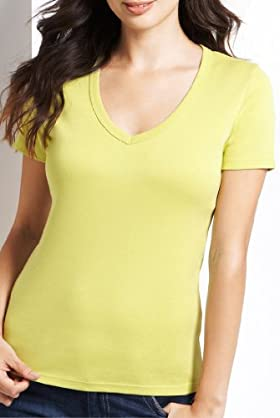 Pure Cotton V-Neck Plain T-Shirt [T41-0908S-S]