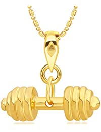 VK Jewels Sultan Collection Sports N Fitness Barbell Dumbell Gold Plated Alloy Pendant With Chain For Men & Boys...