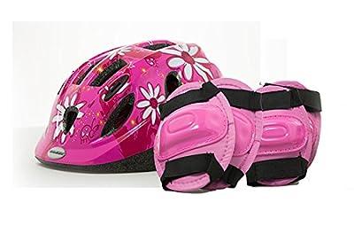 Raleigh Mystery Ice Girls Bike Safety Helmet Knee Elbow Pad Set Flowers CSH143 from Raleigh