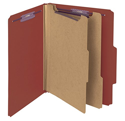 """Smead Pressboard Classification File Folder with SafeSHIELD® Fasteners, 2 Dividers, 2"""" Expansion, Letter Size, Red, 10 per Box (14075)"""