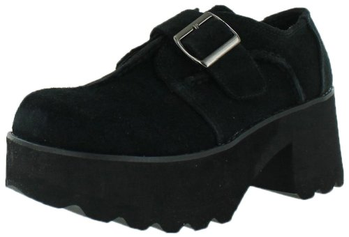 Volatile Buckle Up Women'S Wedge Oxford Casual Shoes Black Size 8.5 front-570383