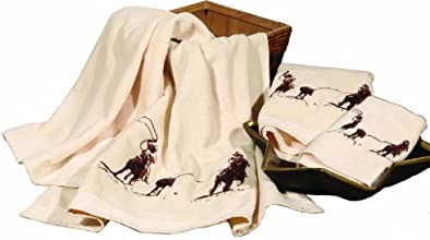 HiEnd Accents Embroidered Team Roping Towel Set Cream