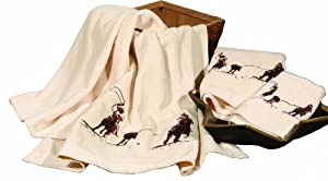 HiEnd Accents Embroidered Team Roping Towel Set, Cream at Sears.com