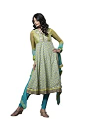 Light Green And Turquoise Anarkali Suit