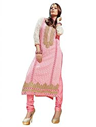 Sanchey Women's Un-Stitched Dress Material (Pink_Free Size)