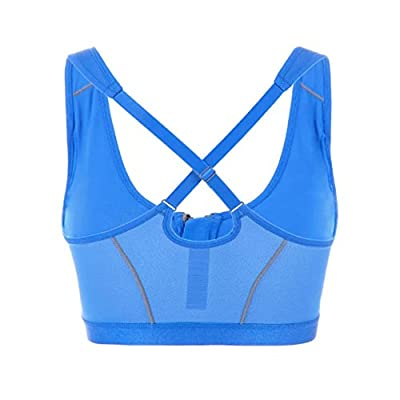 Women's Front Zipped Sports Bra Shock Absorber Running Bra(38D, Blue) by Kylin Express