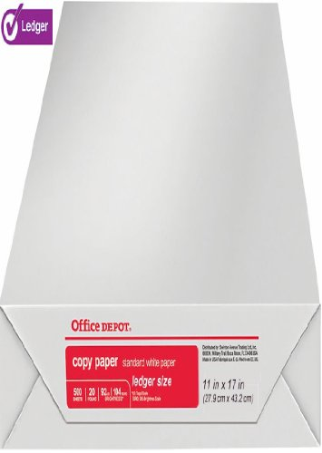 Office Depot Ledger Size Copy & Print Paper Laser/Inkjet/Copier, 11 x 17 inch, 20 Lb., 92 Bright White, Acid Free, 500 Sheets Ream (536648/Ream)
