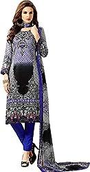 Sanvan Blue Black Silky Soft Cotton Unstitched Material