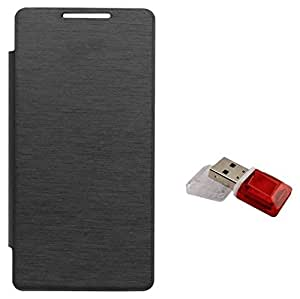 Tidel Black Durable Premium Flip Cover Case For Nokia Lumia 720 With Data Card Readar