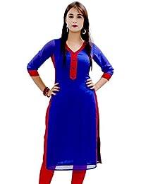 Kurti (Sai Fab Women's Cotton Printed Blue & Red Kurti) ( Free Size Altrable Till 42-44 OR XL)