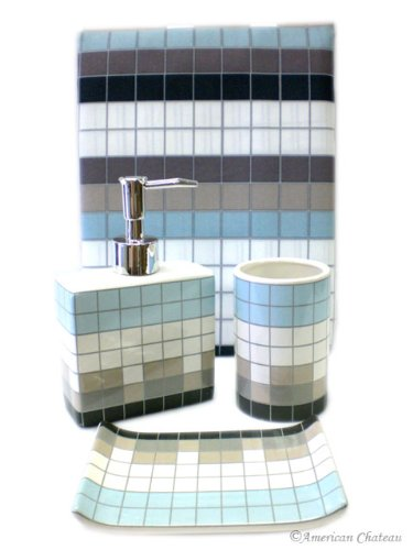 4 PC Blue Squares Retro Bathroom BATH Shower Curtain ACCESSORY Set Accessories