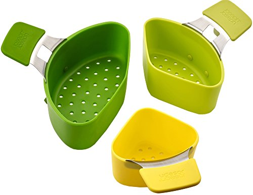 Joseph Joseph 40083 Nest Steam Stackable Steamer Basket Set with Three Compartments Stainles Steel Pan Rest and Hook Silicone Handle, 3-piece, Green